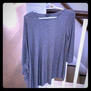 Silver glitter one sleeve cape top-Express